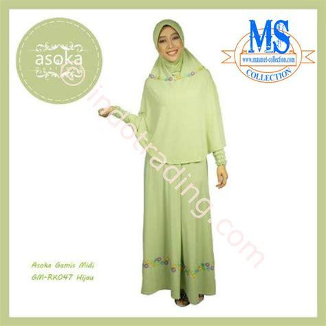 Gamis Dress Rahnem Gm 1307 jual asoka gamis midi gm rk047 hijau harga murah bogor oleh toko ms collection