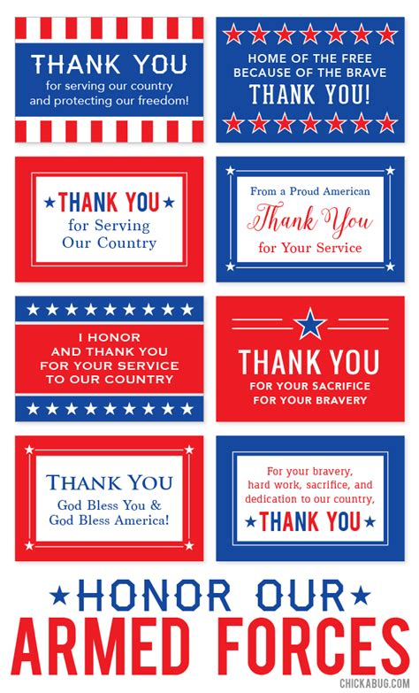 free printable quot honor our armed forces quot cards chickabug