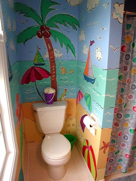tree themed bathroom murals small palm trees and sailboats on pinterest
