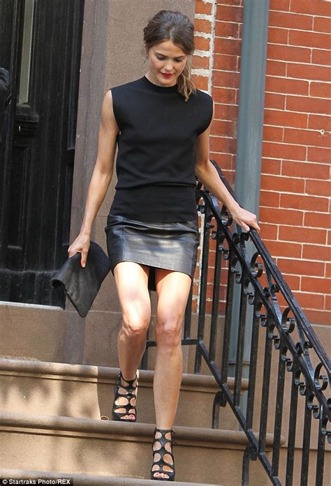 while the miniskirt has been keri russell shows off her slender legs in black leather