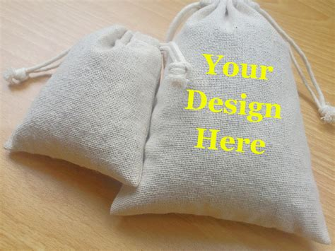 Personalized Pouch personalized cotton linen bags drawstring fabric bags custom