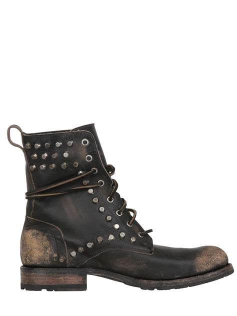 frye lace up boots frye 30mm rogan biker leather lace up boots in black