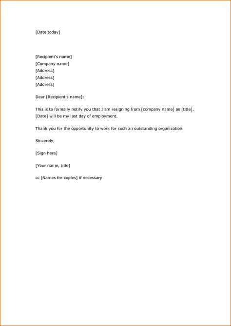 Resignation Letter Outline 12 Basic Resignation Letter Academic Resume Template