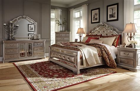 king bedroom sets houston birlanny silver upholstered panel bedroom set b720 57 54