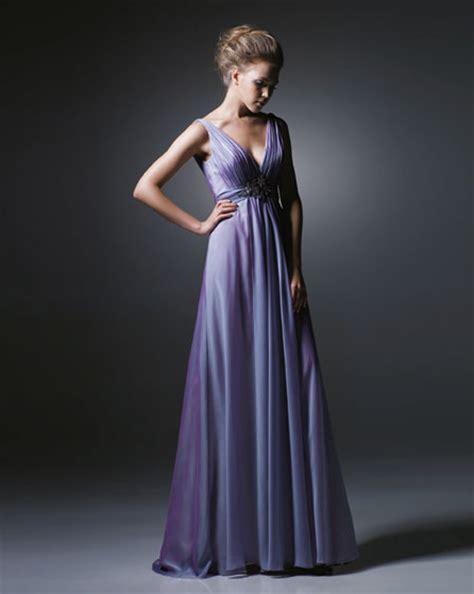 v neckline empire waist lavender bridesmaid