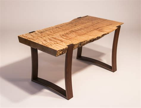 Kitchen Base Cabinets With Legs Live Edge Curly Maple Slab Coffee Table With Curved Ipe