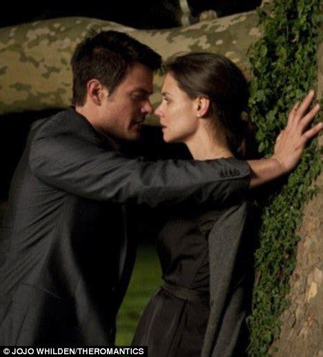 film love katie katie holmes shares a romantic moment with josh duhamel