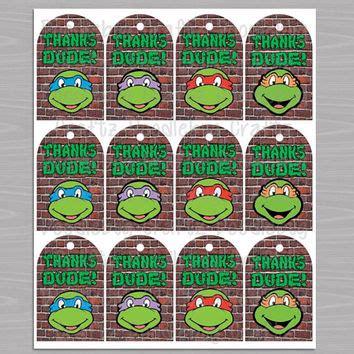 teenage mutant ninja turtles free printable thank you cards tmnt favor thank you tags printable from doodlebugcraftz