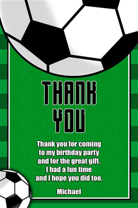 Football Thank You Card Template Free by Soccer Invitations General Prints