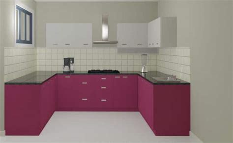 Home Interiors India by Fiesta Rose White U Shaped Modular Kitchen High Glossy