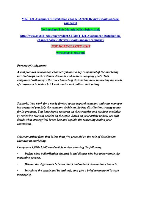 mkt  assignment distribution channel article review sports apparel company  manuuu issuu