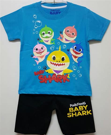 setelan kutung bayi baby shark setelan baby shark biru 1 6 grosir baju anak grosir