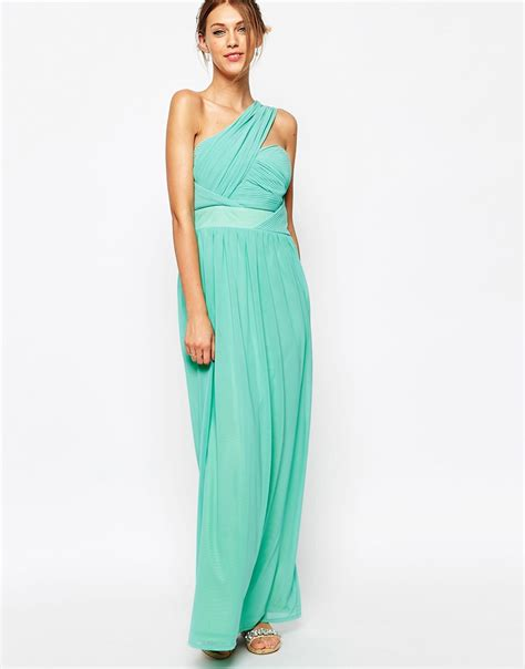 Maxi Dress 1 lyst tfnc maxi dress with one shoulder detail in blue