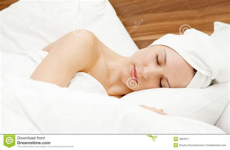 woman sleeping in bed beautiful woman sleeping in the bed stock image image