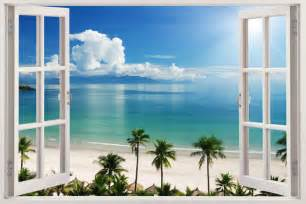 Beach Wall Mural 3d Window Decal Wall Sticker Home Decor Exotic Beach View