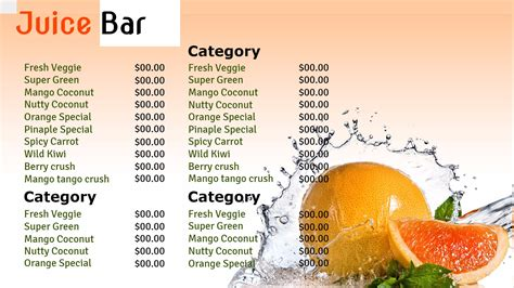 Professional Digital Signage Templates Signagecreator Juice Menu Template