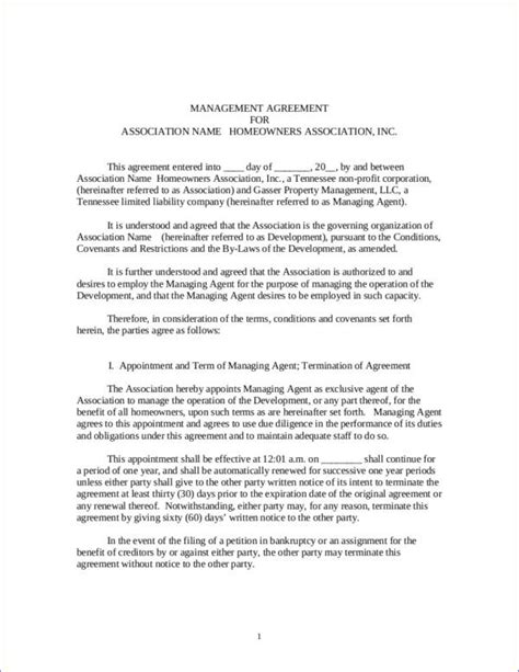 association agreement template 16 management contract sles templates free word