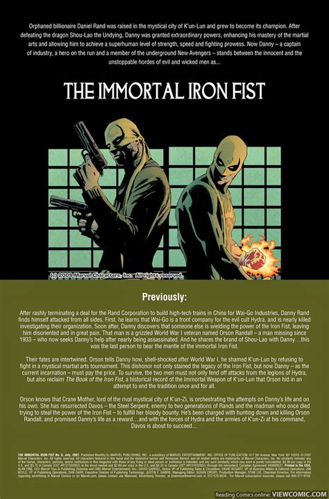 immortal iron fist the 0785188908 the immortal iron fist 006 2007 viewcomic reading comics online for free