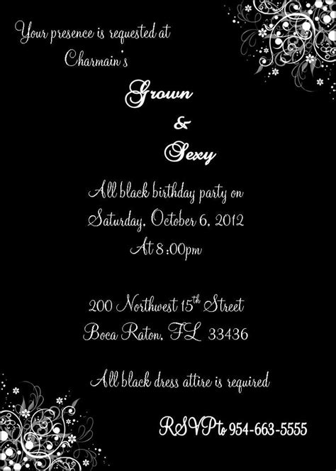 Grown and Sexy All Black Invitation by JS Event Creations