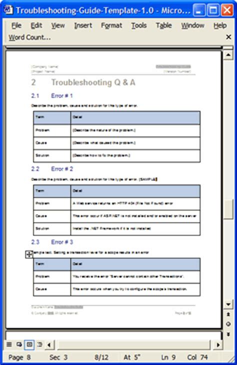 troubleshooting guide templates 3 x ms word