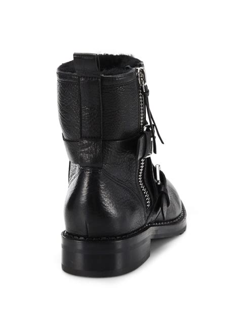 black leather moto boots rebecca minkoff griffin leather moto boots in black lyst