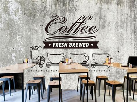Wallpaper Dinding Motif Coffe custom food shop wallpaper cement wall coffee 3d retro