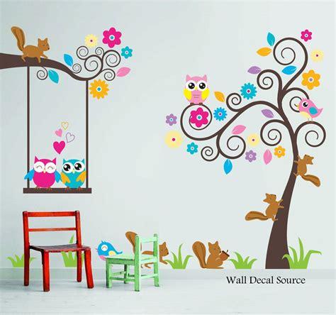 nursery wall decal birds owls squirrels swirly tree