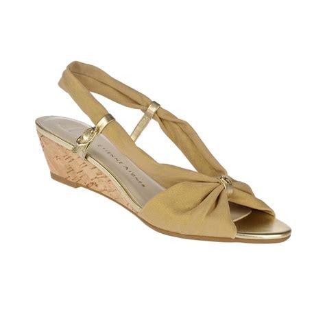 aigner sandals etienne aigner olinda wedge sandals in beige camel lyst