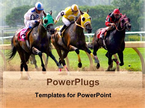 powerpoint templates free download horse powerpoint template three horses racing in competition in
