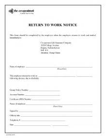 Back To Work Template best photos of return to work note return to