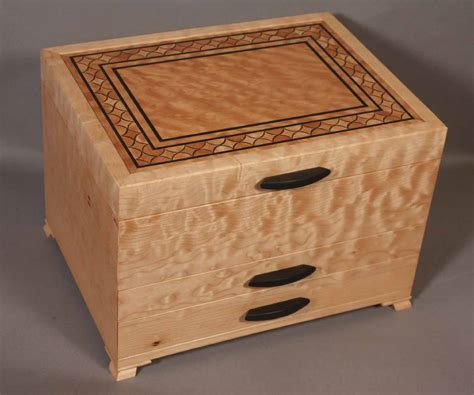 Maple Drawer Boxes by Quilted Maple Inlay Banding Jewelry Box