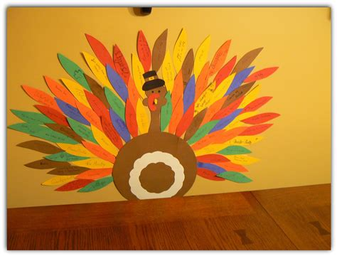 Turkey Construction Paper Craft - around the table book thankful feathers
