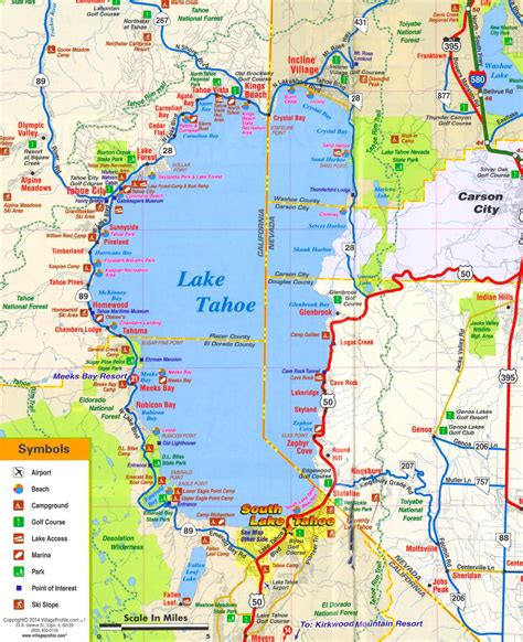lake tahoe map lake tahoe tourist attractions map