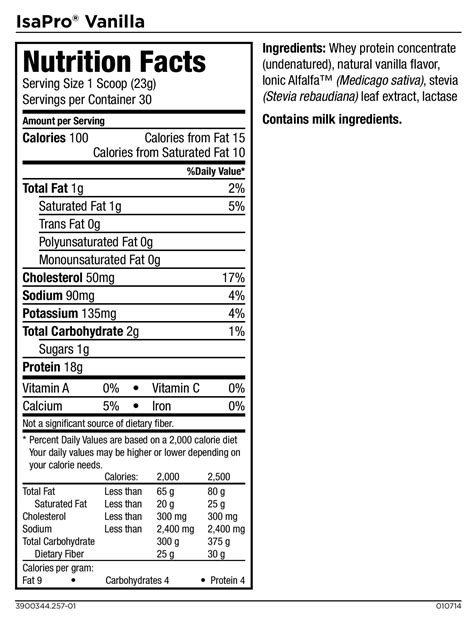 nutrition facts isagenix isapro nutrition facts