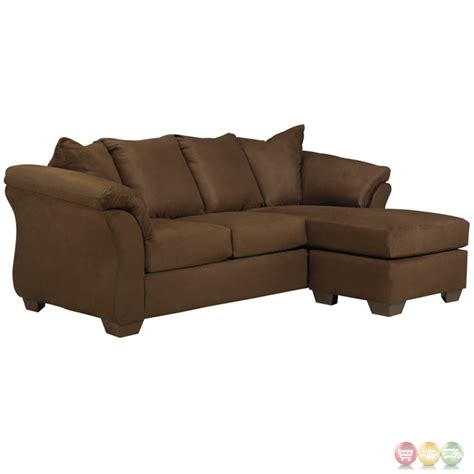 Signature Design By Ashley Darcy Sofa Chaise In Cafe Microfiber Sofa With Chaise Lounge