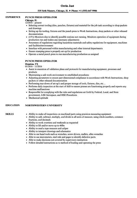 cnc punch press operator resume example fabulous