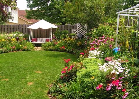 backyard swing in perennial garden traditional