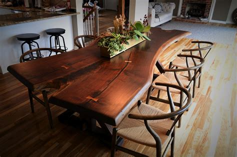 Raw Edge Dining Table Live Edge Black Walnut Table Cz Woodworking