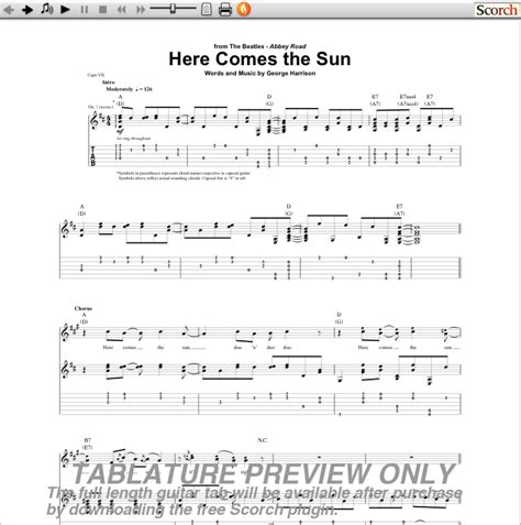 guitar tutorial here comes the sun the beatles here comes the sun guitar tab free beatles