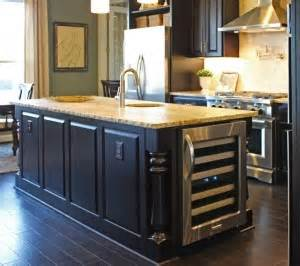 cabinets kitchen island with monaco posts and wine refrigerator view more kitchens