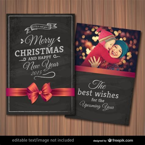 Editable Christmas Card With Photography Frame Vector Free Download Free Card Photo Templates