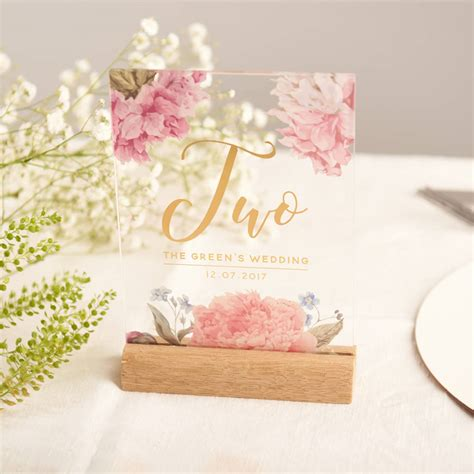 gold wedding table numbers personalised floral gold acrylic wedding table numbers by