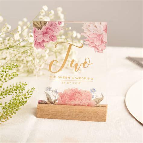 acrylic table numbers wedding personalised floral gold acrylic wedding table numbers by