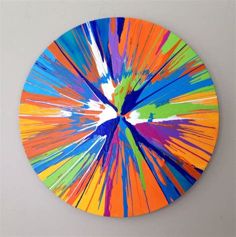 painting spin spin painting large abstract blue green orange 20