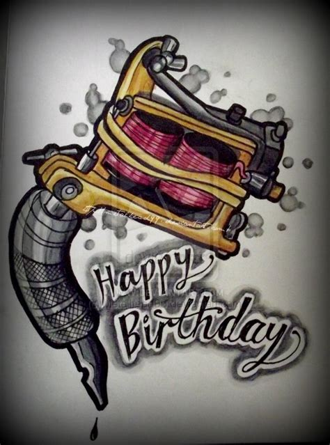 tattoo girl happy birthday tattoo machine card by metalhead99 on deviantart