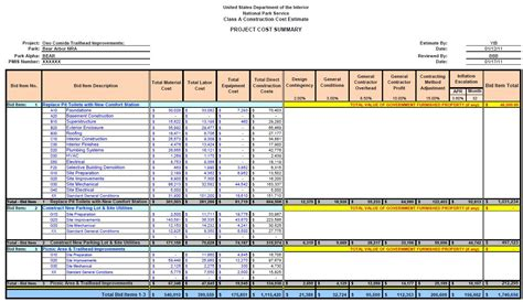 cost estimation template construction cost estimate template engineering management