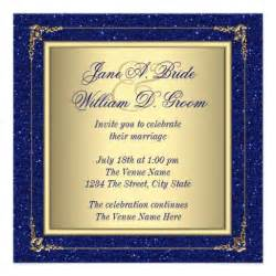 blue and gold wedding invitations royal blue and gold wedding invitations zazzle