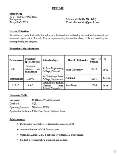 impressive sample resume for software engineer fresher doc on java