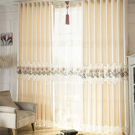 Living Room Picture Window Curtains Charming Best Living Room Beige Embroidery Style Window