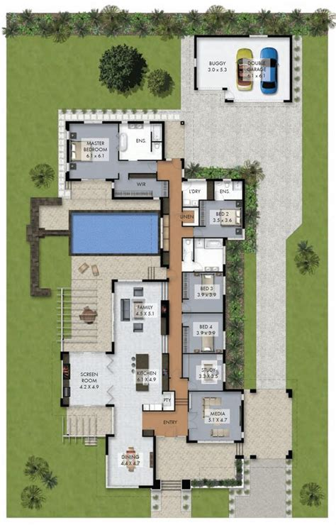 floor plan with courtyard in middle of the house h shaped house plans with pool in the middle pg3 courtyard